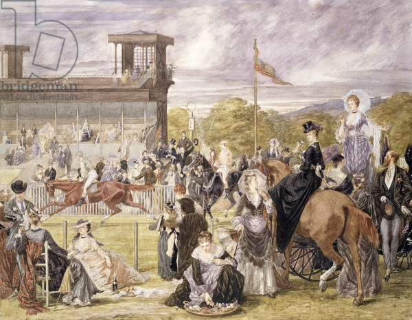 The Races at Longchamp in 1874 (w/c on paper)