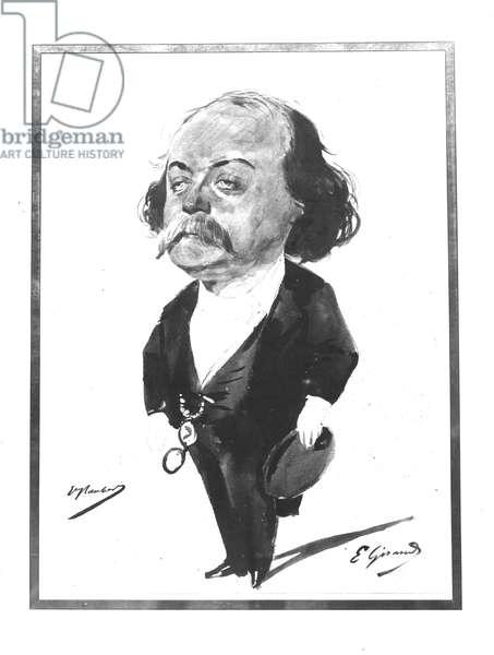 Caricature of Gustave Flaubert, 1867 (w/c) (b/w photo)