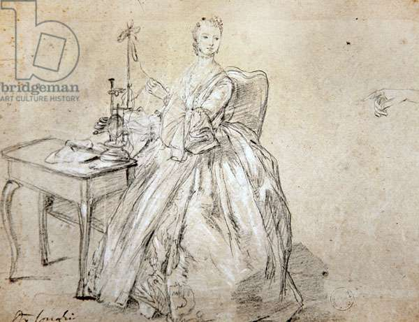 A woman spinning (crayon and white chalk on paper)