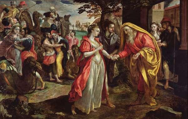 Rebecca Agreeing to Follow Eliezer, c.1562 (oil on panel)