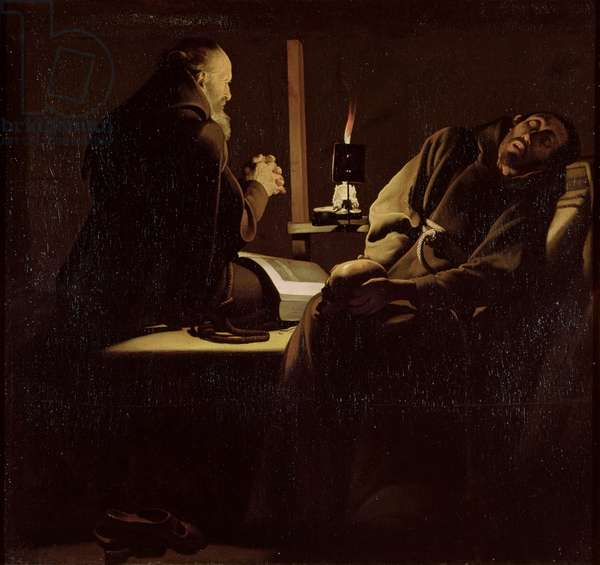 The Ecstasy of St. Francis, A Monk at Prayer with a Dying Monk, 1640-45 (oil on canvas)
