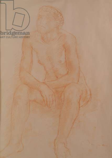 Seated Nude (red chalk on paper)