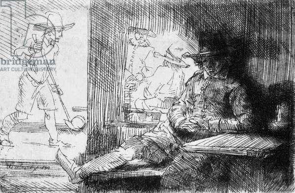 Kolf game, 1654 (etching) (b/w photo)