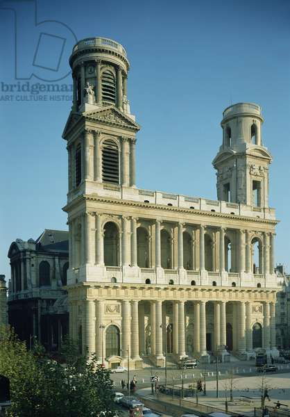 View of the facade of the Church of Saint-Sulpice, built between 1646-1780 (photo)