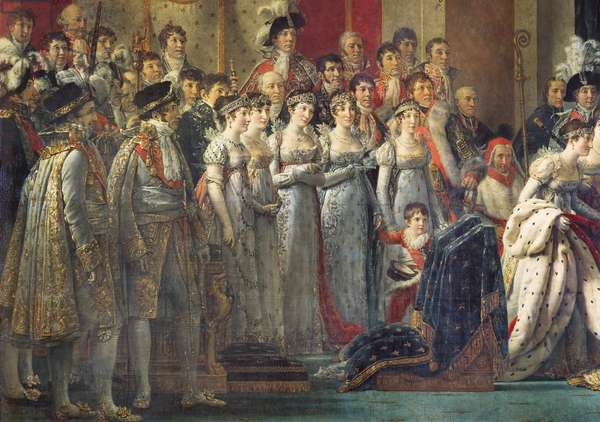The Consecration of the Emperor Napoleon I and the Coronation of Empress Joséphine in Notre-Dame Cathedral, 2nd December 1804 (detail of the left section depicting the  ladies in waiting and the chamberlains), 1805-07 (oil on canvas)