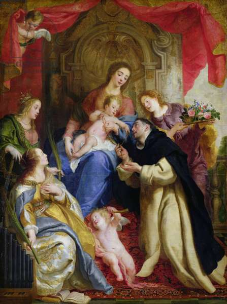 The Virgin Offering the Rosary to St. Dominic, 1641 (oil on canvas)