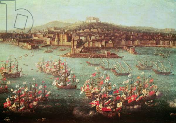 The fleet of King Charles III of Spain before the city of Naples, 6 October 1759 (oil on panel)
