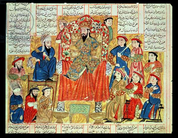 A Sultan and his Court, illustration from the 'Shahnama' (Book of Kings), by Abu'l-Qasim Manur Firdawsi (c.934-c.1020) c.1330 (gouache on paper)