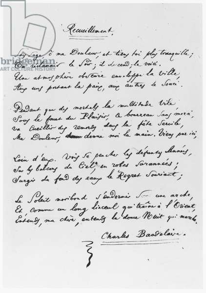 'Recueillement', signed sonnet, 1861 (pen & ink on paper) (b/w photo)
