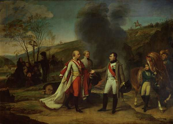 Meeting between Napoleon I (1769-1821) and Francis II (1768-1835) after the Battle of Austerlitz, 4th December 1805 (oil on canvas)