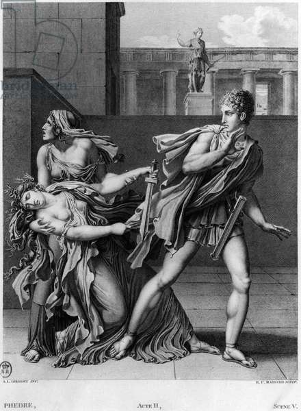 Phaedra, Oenone and Hippolytus, illustration from Act II Scene 5 of 'Phedre' by Jean Racine (1639-99) engraved by Raphael Urbain Massard (1775-1843) 1824 (engraving) (b/w photo)
