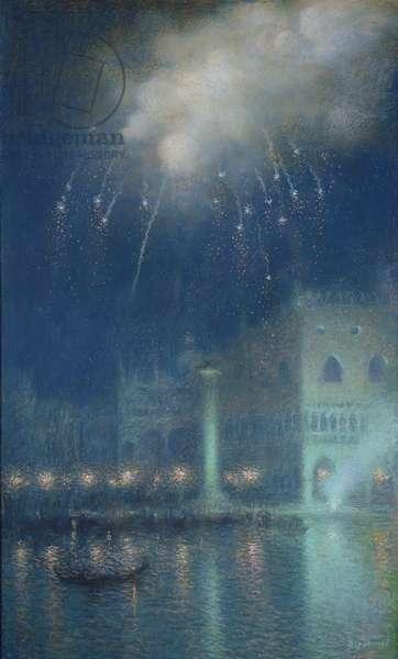 Fireworks over Venice (pastel on paper)