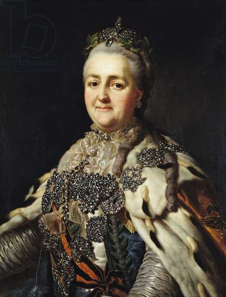 Portrait of Catherine II (1729-96) of Russia (oil on canvas)