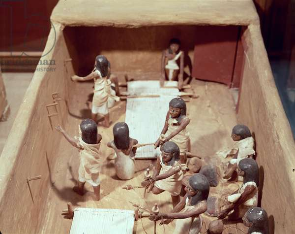 Funerary model of a textile workshop, from the Tomb of Meketre, Valley of the Nobles, Middle Kingdom, c.2000 BC (painted wood)