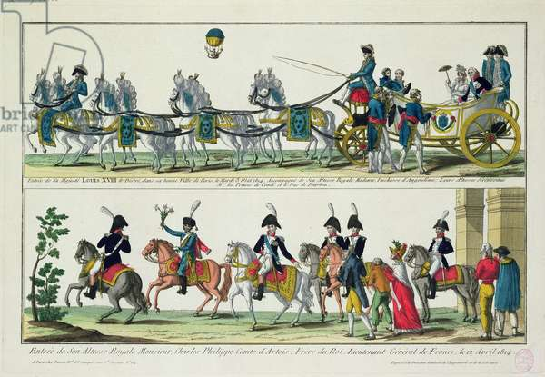 Entry to Paris of Charles, Count of Artois, 12 April 1814, and Entry to Paris of Louis XVIII, King of France and Navarre, 3 May 1814 (coloured engraving)
