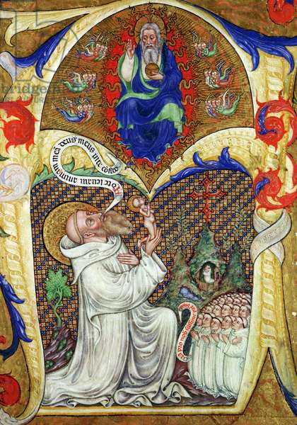 Historiated initial 'A' depicting St. Benedict offering his soul to God the Father, Lombardy School (vellum)