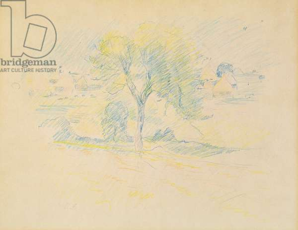 Trees and millstones, 1883 (coloured pencil on paper)