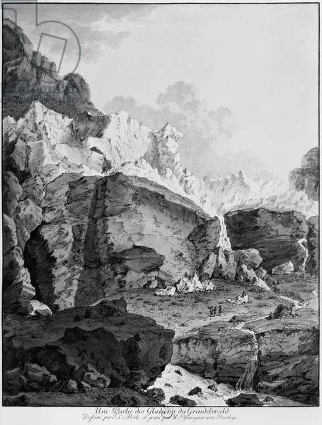 Glaciers of Grindelwald, engraved by Mathias Pfenninger (1739-1813) (engraving) (b/w photo)