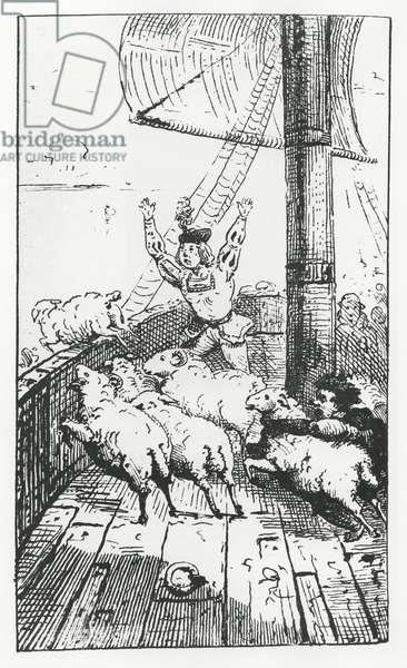 Panurge's sheep, illustration from 'Gargantua and Pantagruel', by François Rabelais (engraving)