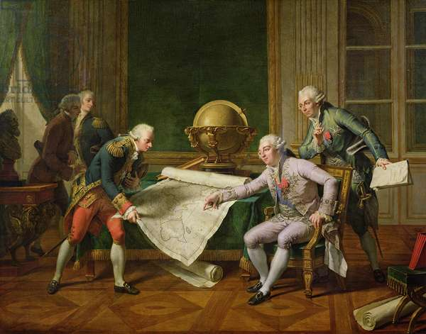 Louis XVI (1754-93) Giving Instructions to La Perouse, 29th June 1785, 1817 (oil on canvas)