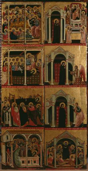 Tryptic of the Virgin, right and left panels (see also 279476 and 279477) (oil on panel)