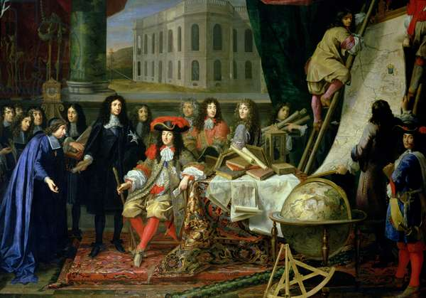 Jean-Baptiste Colbert (1619-83) Presenting the Members of the Royal Academy of Science to Louis XIV (1638-1715) c.1667 (oil on canvas) (detail) (see also 104626)