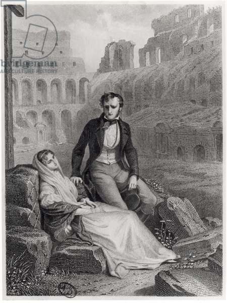 Francois Rene (1768-1848) Vicomte de Chateaubriand and Pauline de Beaumont in the ruins of the Colosseum, illustration from 'Memoires d'Outre-Tombe' by Chateaubriand, engraved by Jean Charles Pardinel (1808-c.1861) (engraving) (b/w photo)