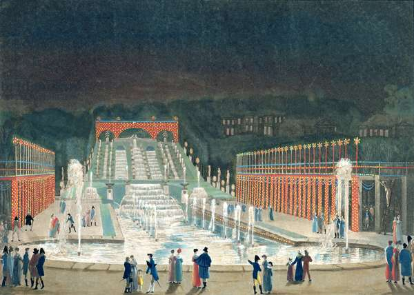 Illumination of the Saint-Cloud Fountain, 1st April 1810 (etching & aquatint on paper)