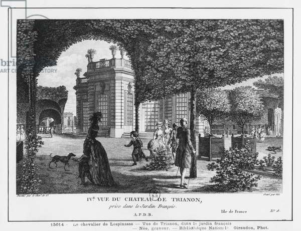 Fourth view of Trianon, taken in the French garden, engraved by Francois Denis Nee (1732-1817) (engraving)