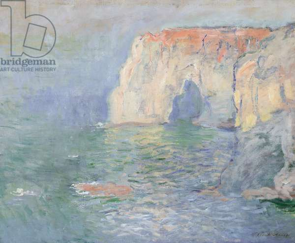Etretat: Le Manneport, reflections on the water, 1885 (oil on canvas)
