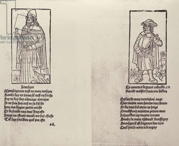 Bishop Thibaud d'Auxigny, f.2r from 'Oeuvres' by Francois Villon, published 1489 (woodcut)