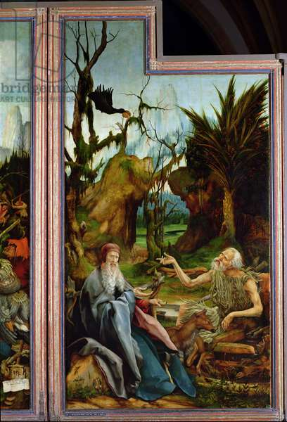 St. Anthony and St. Paul, detail from the Isenheim Altarpiece, c.1512-16 (oil on panel)
