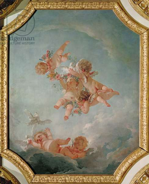 Spring, from a series of the Four Seasons in the Salle du Conseil (oil on canvas)