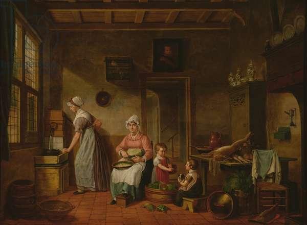 Kitchen Interior, 1820 (oil on canvas)