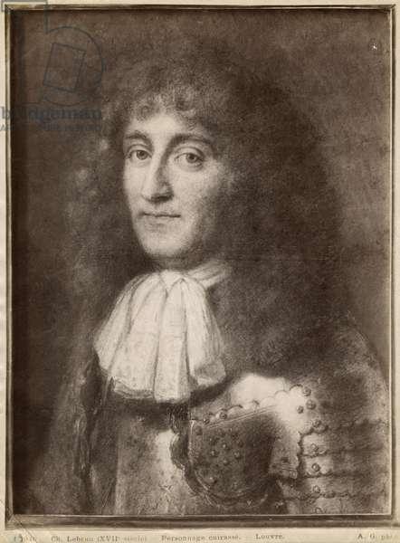 Portrait of a man wearing armour (pastel on grey beige paper)