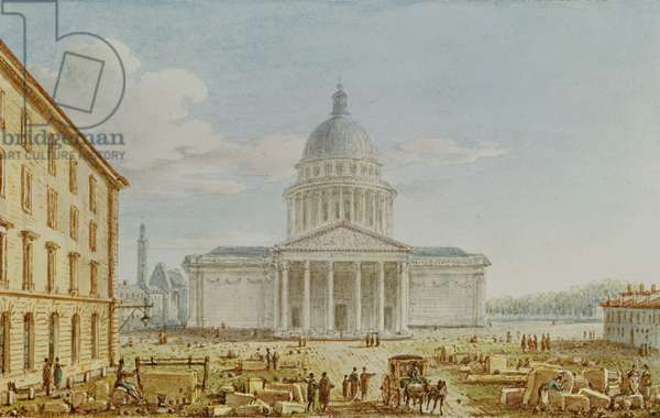 View of the Church of St. Genevieve, the Pantheon, 18th-19th century (w/c on paper)