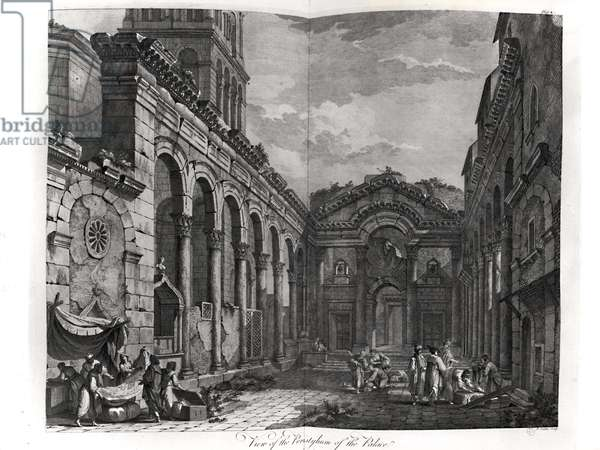 View of the peristyle of the palace of Diocletian (245-313), Roman Emperor 284-305, at Split on the Dalmatian coast, engraved by P. Santini, 1768 (engraving)