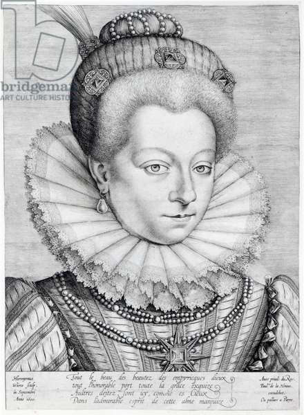 Portrait of Catherine Henriette de Balzac d'Entragues (1579-1633), marquise de Verneuil, 1600 (engraving) (b/w photo)