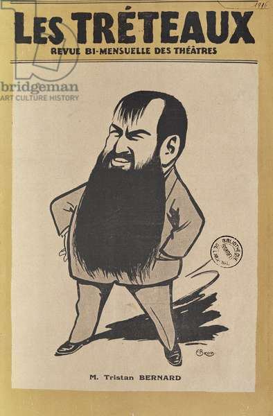 Caricature of Tristan Bernard (1866-1947) from the cover of 'Les Treteaux', 1916 (colour litho)
