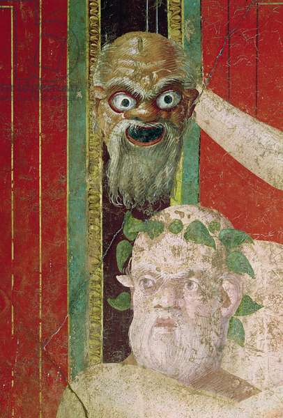 The Head of the Elderly Silenus, Above which is a Silenus Mask, East Wall, Oecus 5, 60-50 BC (fresco)