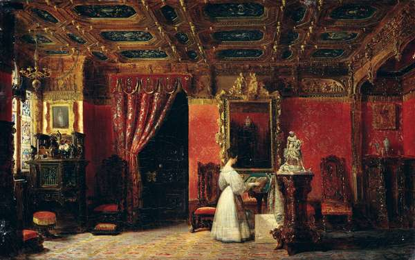 Princess Marie d'Orleans (1813-39) in her Gothic Studio in the Palais des Tuileries, 1836 (oil on canvas)