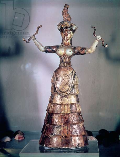 The Goddess of the Serpents, from the Palace of Knossos, 1500 B.C (faience)