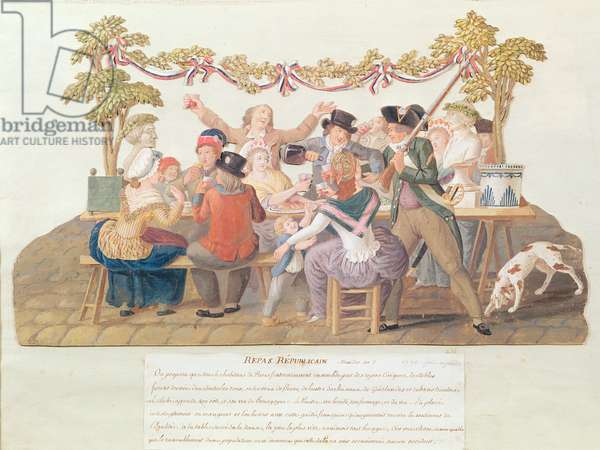 A Republican Meal, Messidor, Year II (June-July 1794) (w/c & gouache on card)