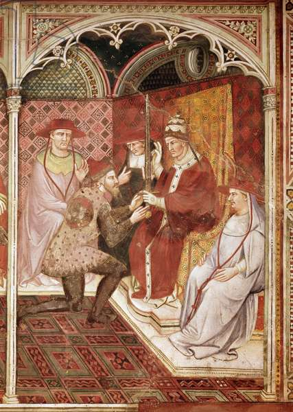 Story of Pope Alexander III, the Pope giving the sword to Doge Ziani, 1407 (fresco)