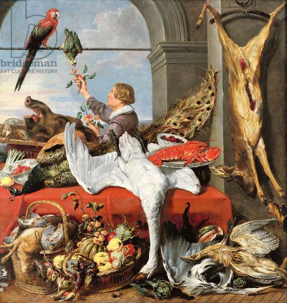 Interior of an office, or still life with game, poultry and fruit, c.1635 (oil on canvas)