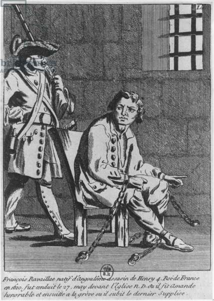 Francois Ravaillac, the assassin of King Henri IV, in prison (engraving) (b/w photo)