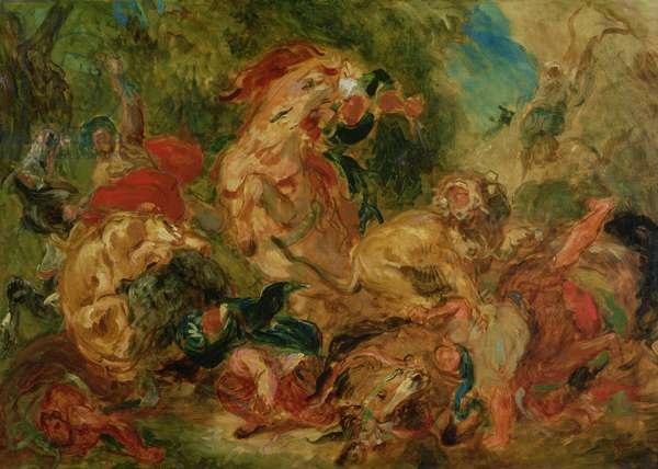 Study for The Lion Hunt, 1854 (oil on canvas)