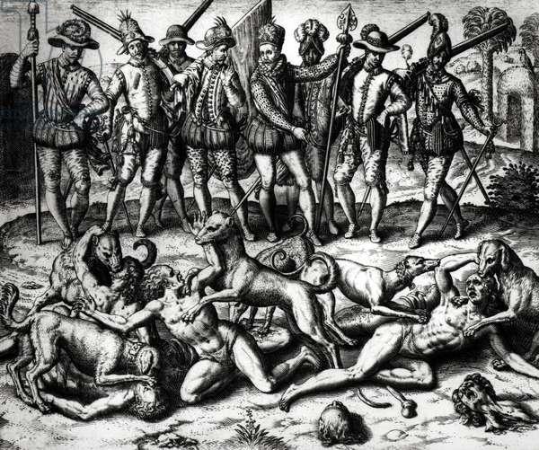 The dogs of Vasco Nunez de Balboa (1475-1571) attacking the Indians (engraving) (b/w photo)