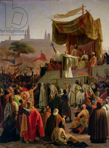St. Bernard of Clairvaux preaching the Second Crusade in Vezelay, 31st March 1146, 1840 (oil on canvas)