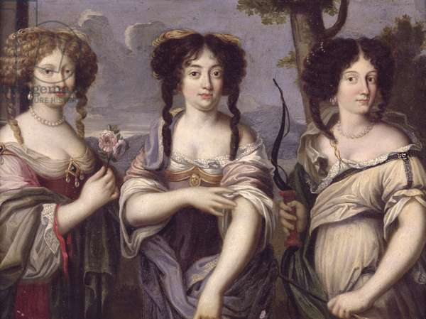 Portrait of three of the nieces of Cardinal Mazarin portrayed as goddesses, Venus, Juno and Diana (oil on copper)